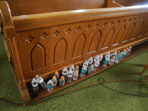 empties from New Music for Old Instruments recording session, July 3-4, 2012, at St. Bridget's Church near Iowa City, IA